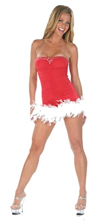 nom de plume inc women sexy feathers christmas party dress large red
