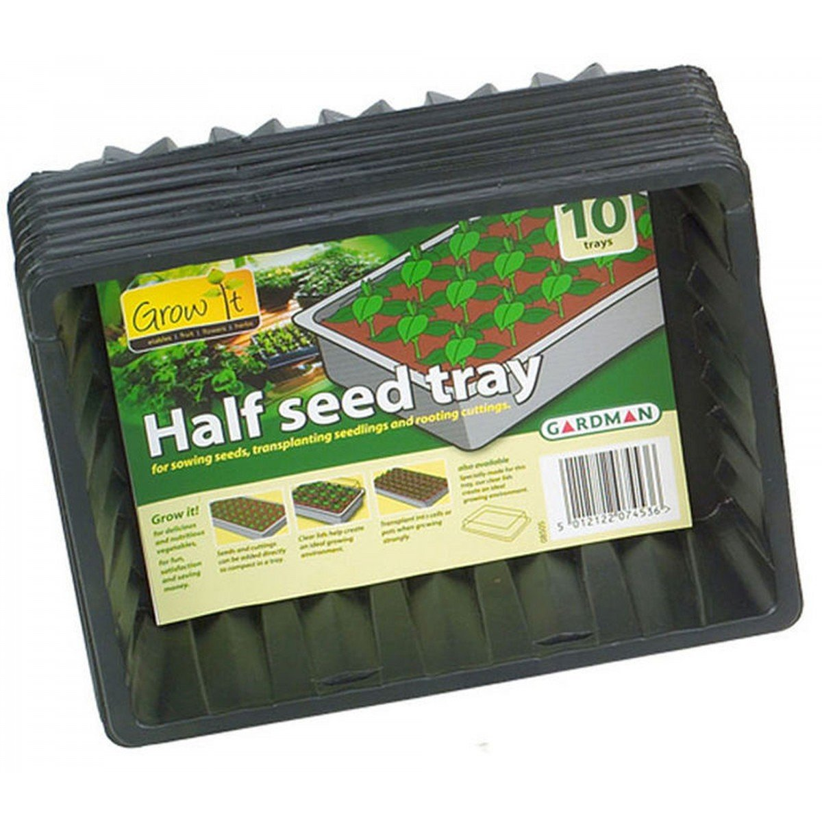 Gardman Half Size Plastic Seed Trays (Set of 10 Trays)