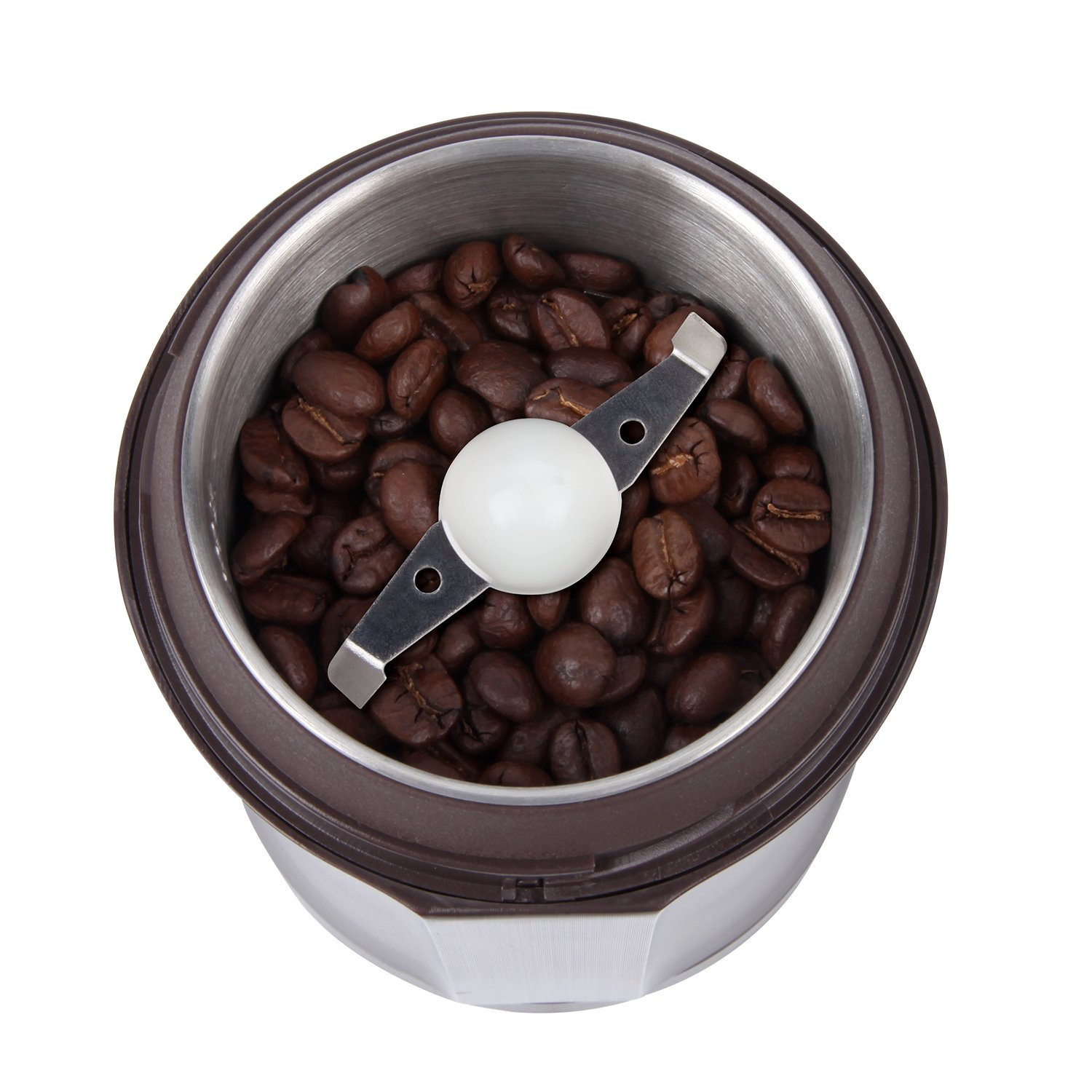 AMOVEE Electric Coffee Grinder with Stainless Steel Blades for Coffee Beans, Spice, Nuts, Herbs, Pepper and Grains, Brown, 200W, Cleaning Brush Included by AmoVee (Image #3)