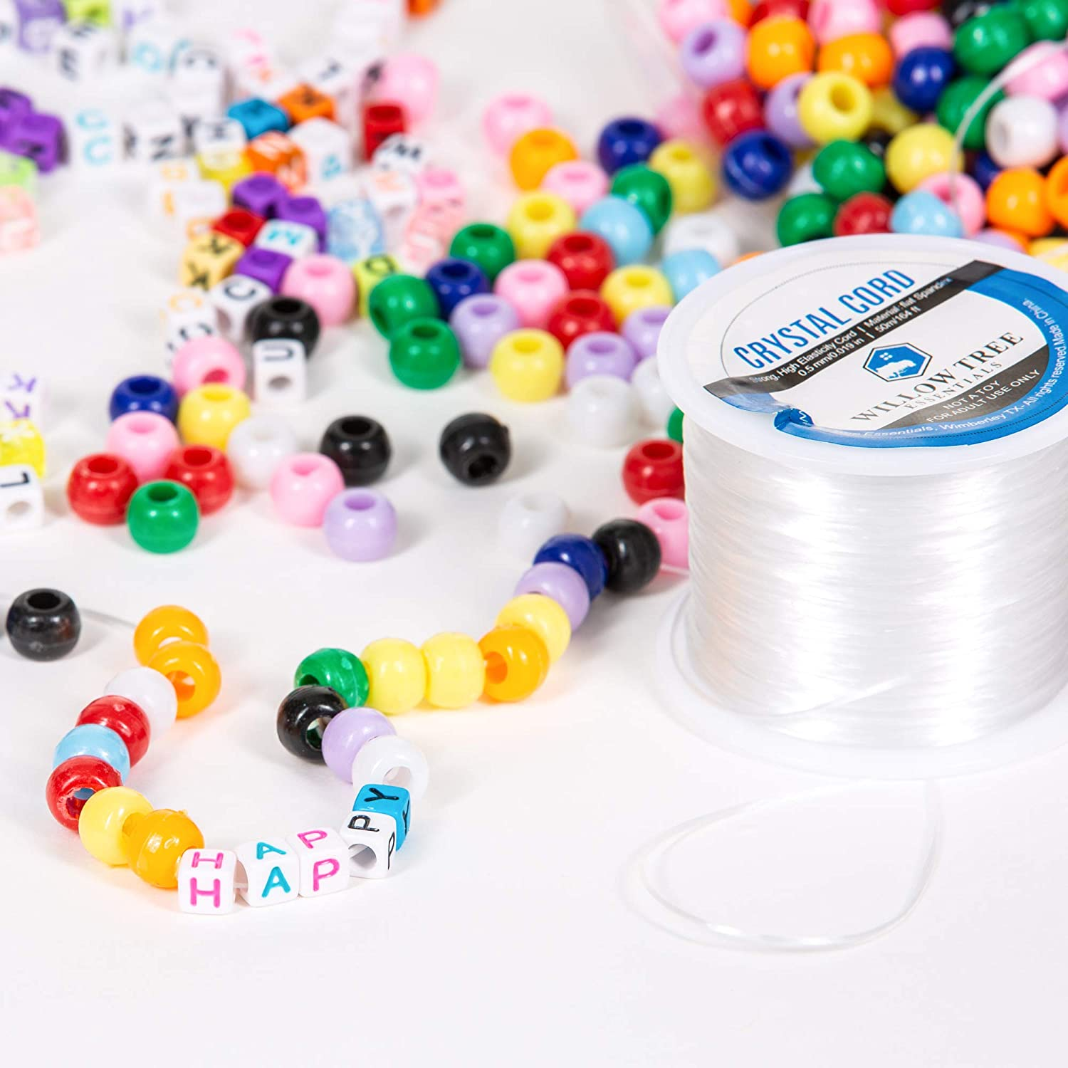 Quefe 1500 Pcs Assorted Acrylic Plastic Beads Containing 4 Types Letter Beads 1 Set UV Beads with 50 Meters of Flat Round Thread for Making Jewelry 1 Set Large Hole Beads Bracelets etc.