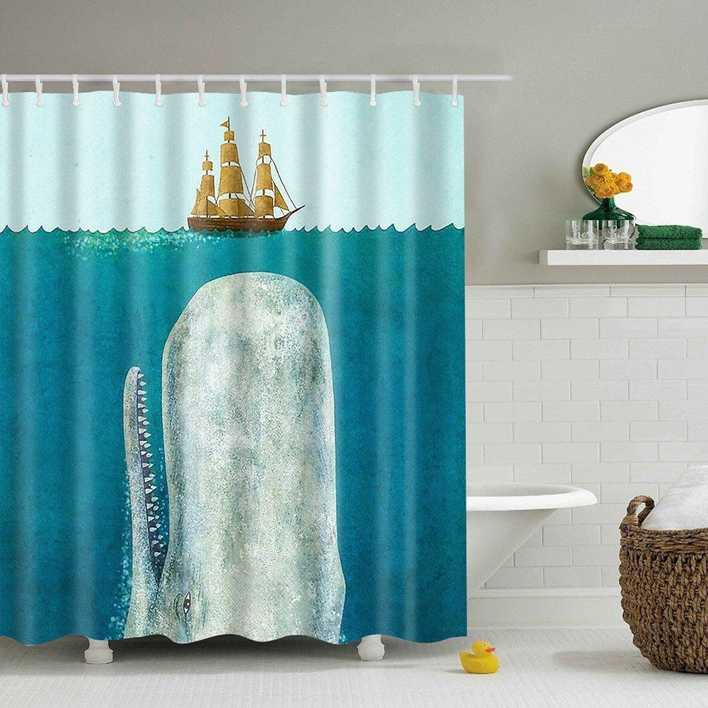 Moresave Unico Octopus impermeabile poliestere Shower Curtain Bagno Decor con ganci