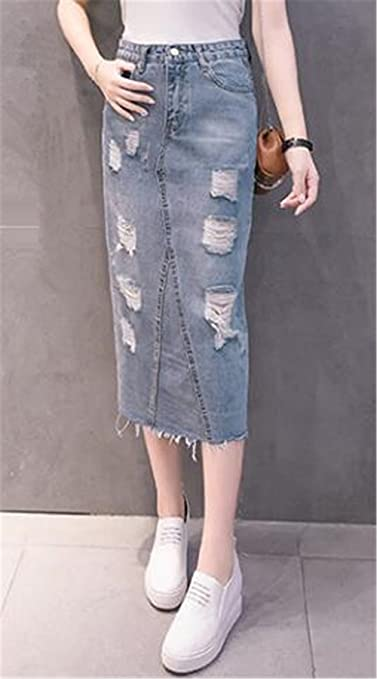 BESTHOO Jupe en Jean Femme Jupe Mi Longue Taille Haute Jupe Crayon Tendance Femelle Skirt Ourlet Irrégulier Jupe en Denim des Pièces Détruites