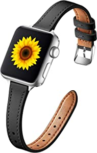 Muranne Leather Band Compatible with Apple Watch SE 38mm 40mm, Slim Elegant Genuine Leather Replacement Strap with Classic Bands Buckle Compatible with iWatch 6 5 4 3 2 1, Black / Sliver