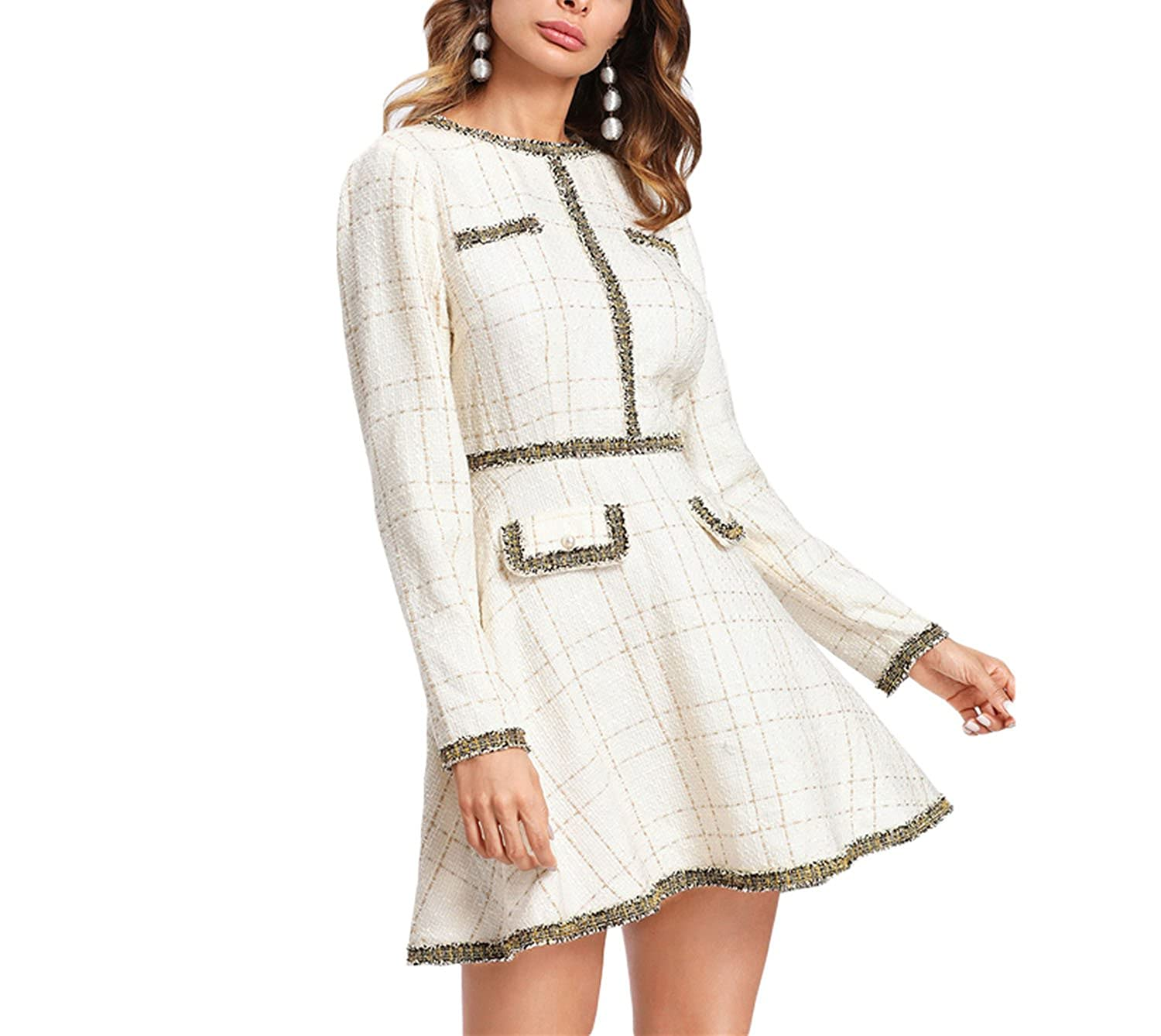 e624903d77a Trendy-Nicer Elegant Fringe and Pearl Embellished Tweed Dress Multicolor Long  Sleeve Plaid at Amazon Women's Clothing store: