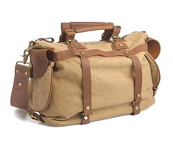 Fourre-tout à bandoulière De haute qualité des femmes des hommes de toile de coton et cuir véritable Voyage Duffle Week-end Satchel d'emballages sac à main à bandoulière bagage à main (Kaki) VMJlMkfkfS