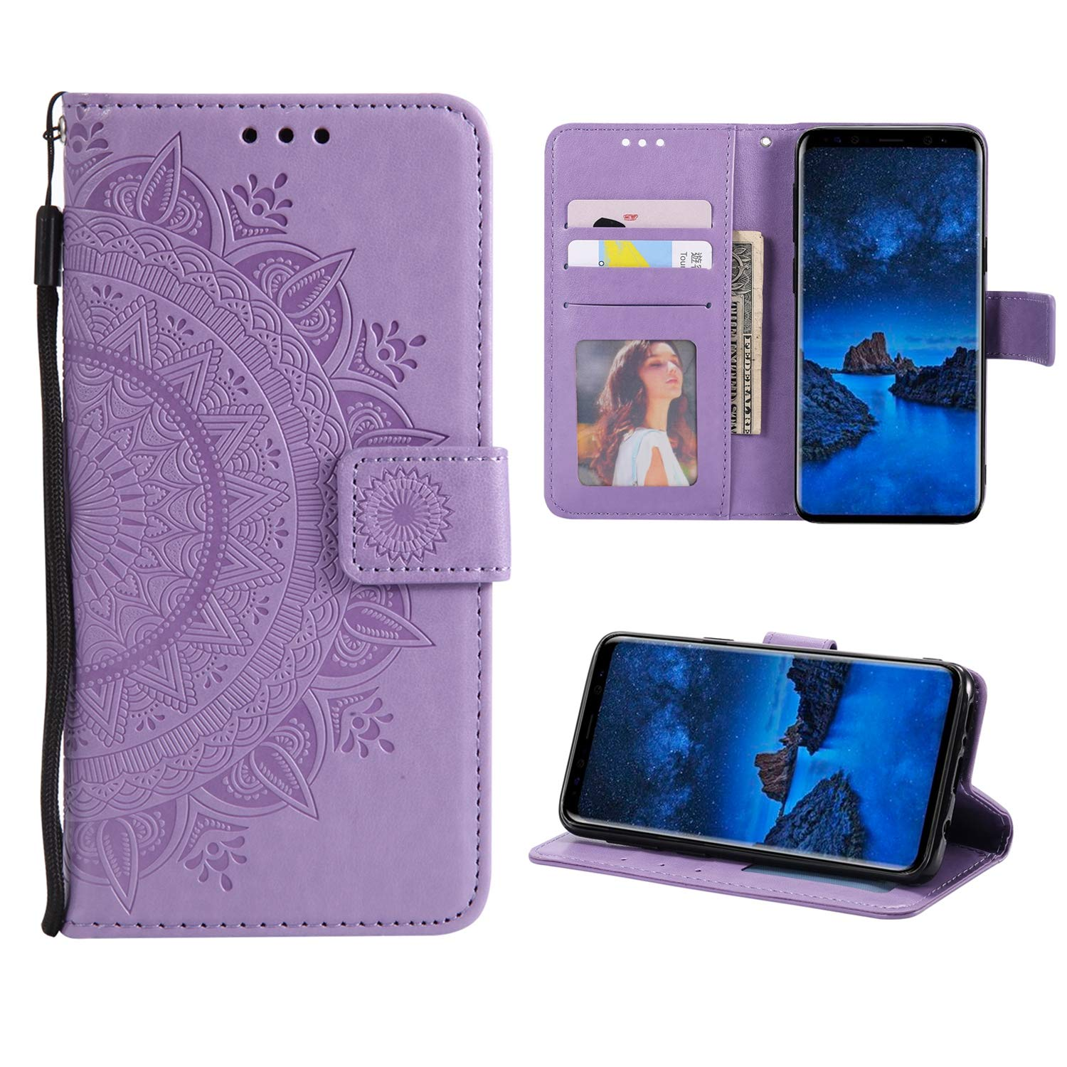 Case for Galaxy S7 Edge PU Leather Flip Wallet Cover, Mistars Tribal Mandala Flower Pattern Embossed Full Body Protection Cove with Card Holder Kickstand Magnetic Closure Shell Inner Soft TPU Silicone Bumper for Samsung Galaxy S7 Edge (5.5 inch) - Grey