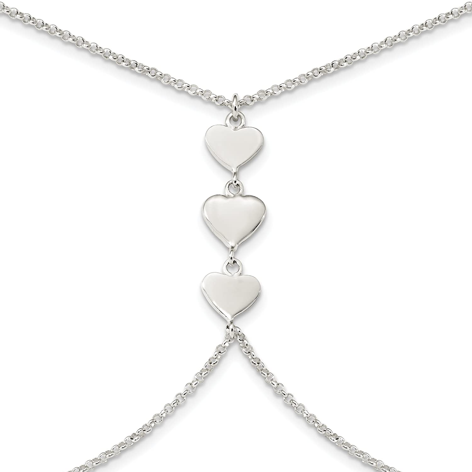 925 Sterling Silver Polished Heart 32in 2in ext Body Chain Necklace