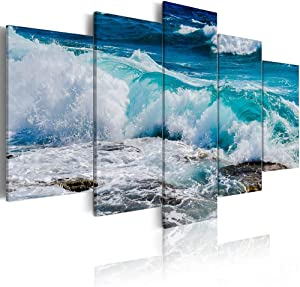 ArtHome520 Blue Sea Ocean Wall Art Canvas Print Painting Turquoise Seascape Waves Picture Home Decor Modern Framed Ready To Hang 5 Panel (12''x18''x2+12''x24''x2+12''x36''x1)