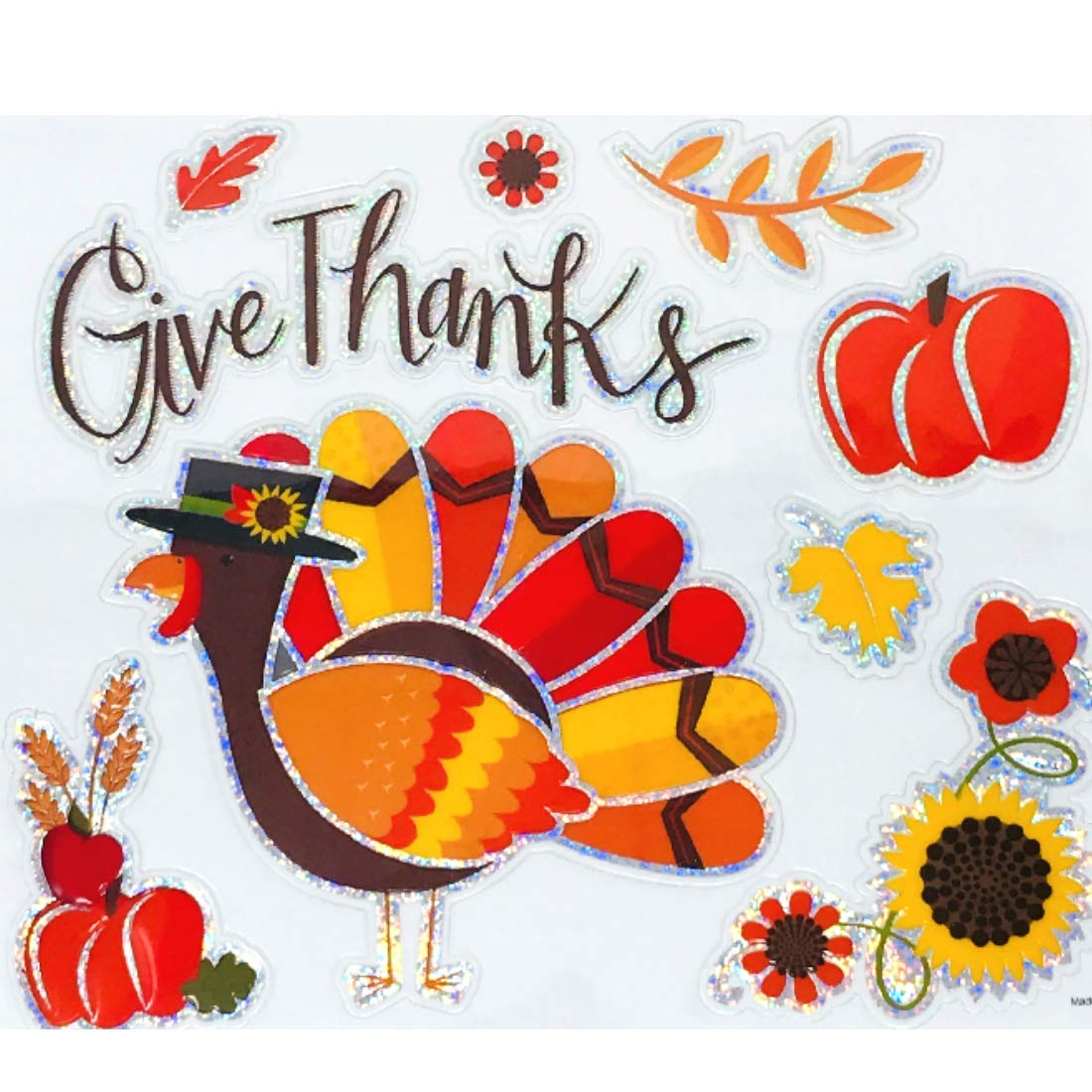 gb Fall Give Thanks Window Cling Decorations 9 Pieces