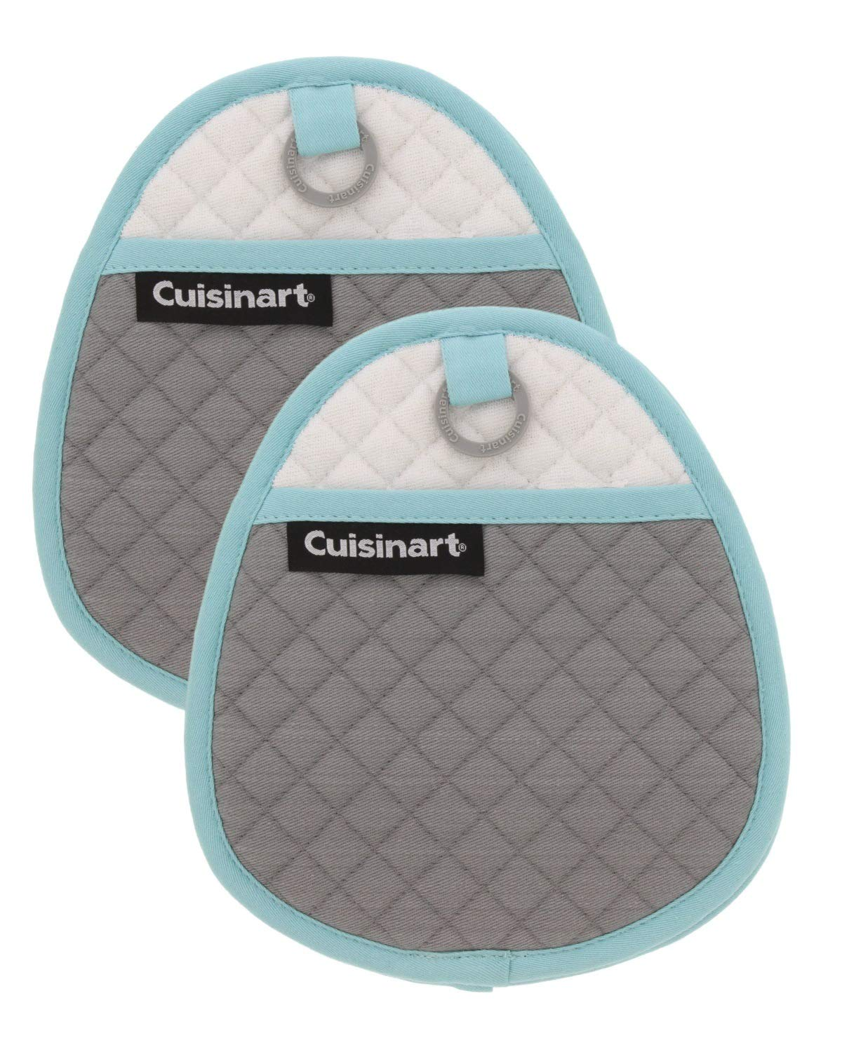 Cuisinart Quilted Silicone Potholders & Oven Mitts - Heat Resistant up to 500° F, Handle Hot Oven/Cooking Items Safely - Soft Insulated Pockets, Non-Slip Grip w/Hanging Loop, Drizzle Grey- 2pk