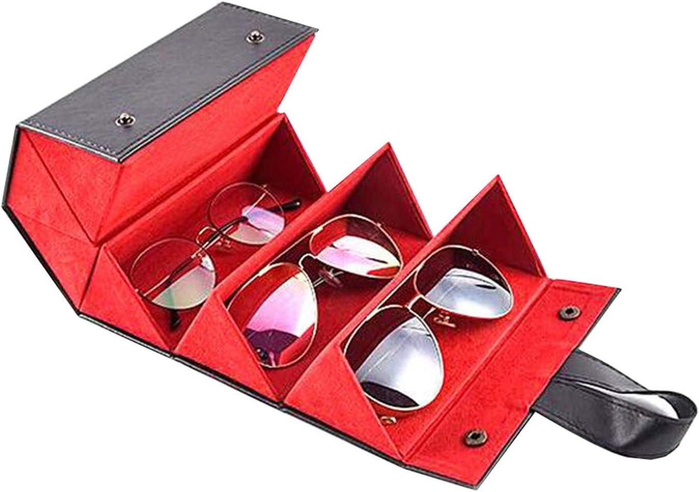 S5E5X 5-Slot Travel Sunglasses Organizer Collector Black Multiple Leather Sunglasses Case Foldable Eyeglasses Storage Box Hanging Eyewear Holder