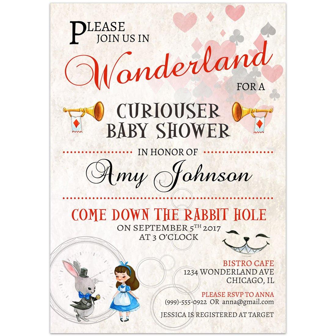 Amazon.com: Alice in Wonderland Baby Shower Invitations: Handmade