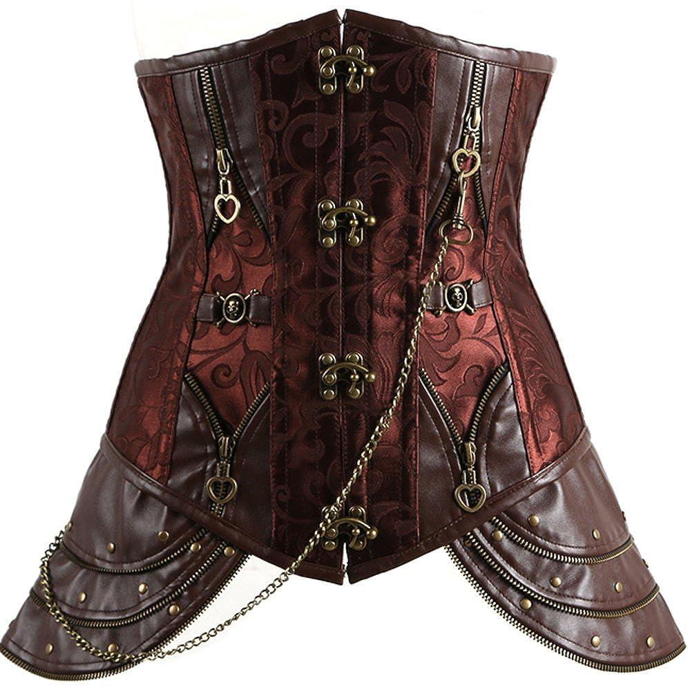 Bettydom Underbust Rock&Roll Shaper Medieval Waist Shaping Corset for Women Leather Bustier S-3XL