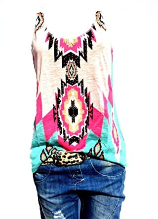 71baa34af8dcc Damen Top Sommer ärmellos Tanktop Tunika T-Shirt Bluse Oversize Bunt  Pastell Rosa (34