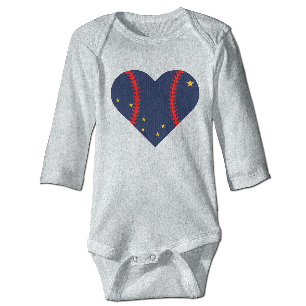 Infant Baby Boys Girls Long Sleeve Jumpsuit Romper Alaska Flag Baseball Heart Unisex Button Playsuit Outfit Clothes
