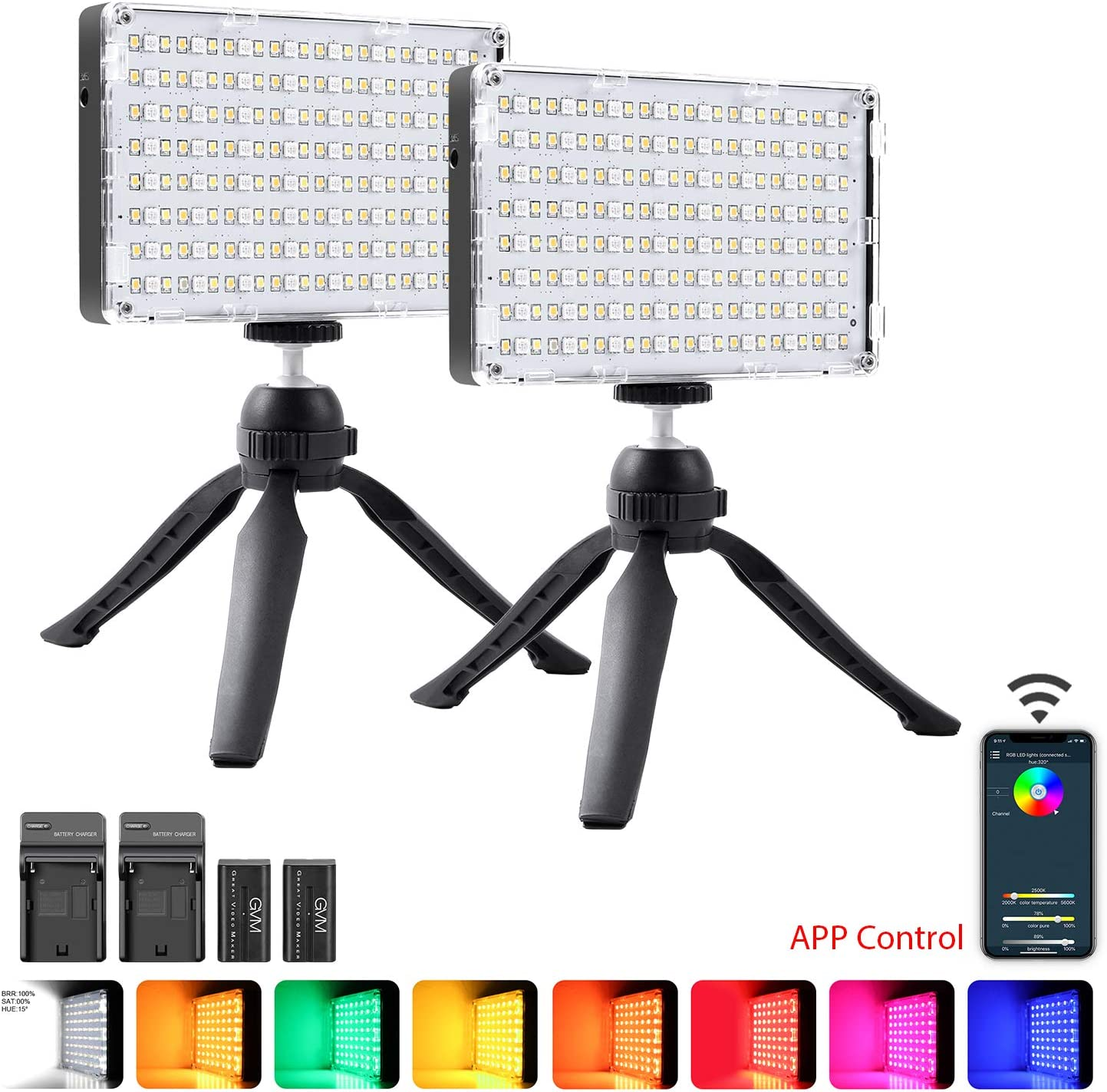 GVM 2 Pack RGB Camera Light, Video Lighting Kit with APP Control, 360° Full Color 8 Common Light Effects, CRI≥97 3200-5600K LED Video Light Panel for YouTube DSLR Lighting