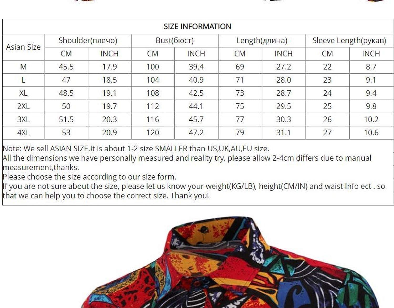 Fashion Mens Cotton Short Sleeve Hawaiian Shirt Summer Casual Floral Shirts for Men Size M-4XL