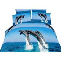 Dolce Mela DM425K Atlantic Dolphins 6-Piece Cotton Duvet Cover Set, King
