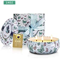 YMingUK Scented Candles - Portable Travel Candles 400g(14 Oz) with 3 Wick Natural Soy Wax and Fresh Floral Scent for Stress Relief Yoga Meditation Bath
