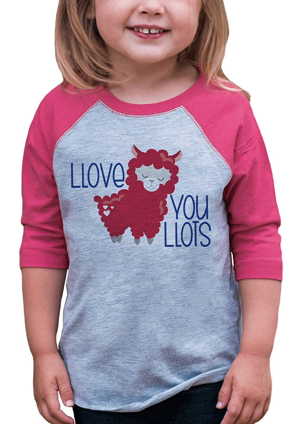 7 ate 9 Apparel Kids Llama Valentines Day Pink Raglan