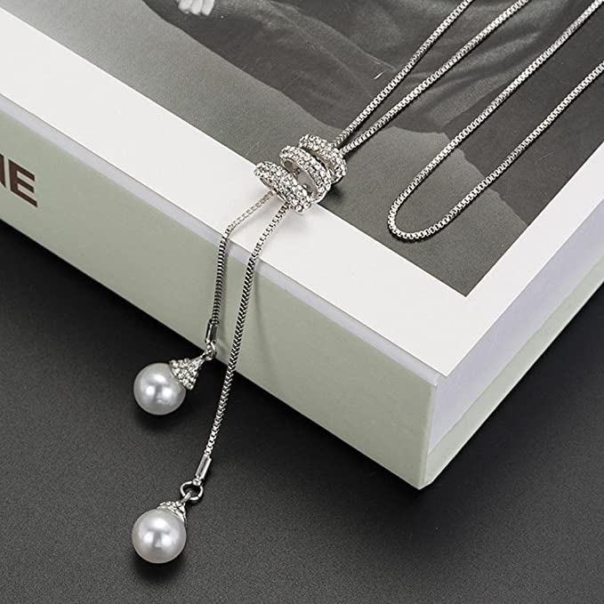 Crystal Pearls Pendant Necklac...