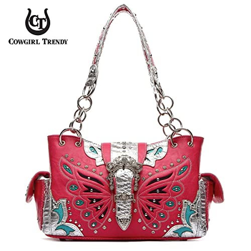 d9ee91bb77 Western Butterfly Pattern Handbag (Fuchsia Silver)  Handbags  Amazon.com