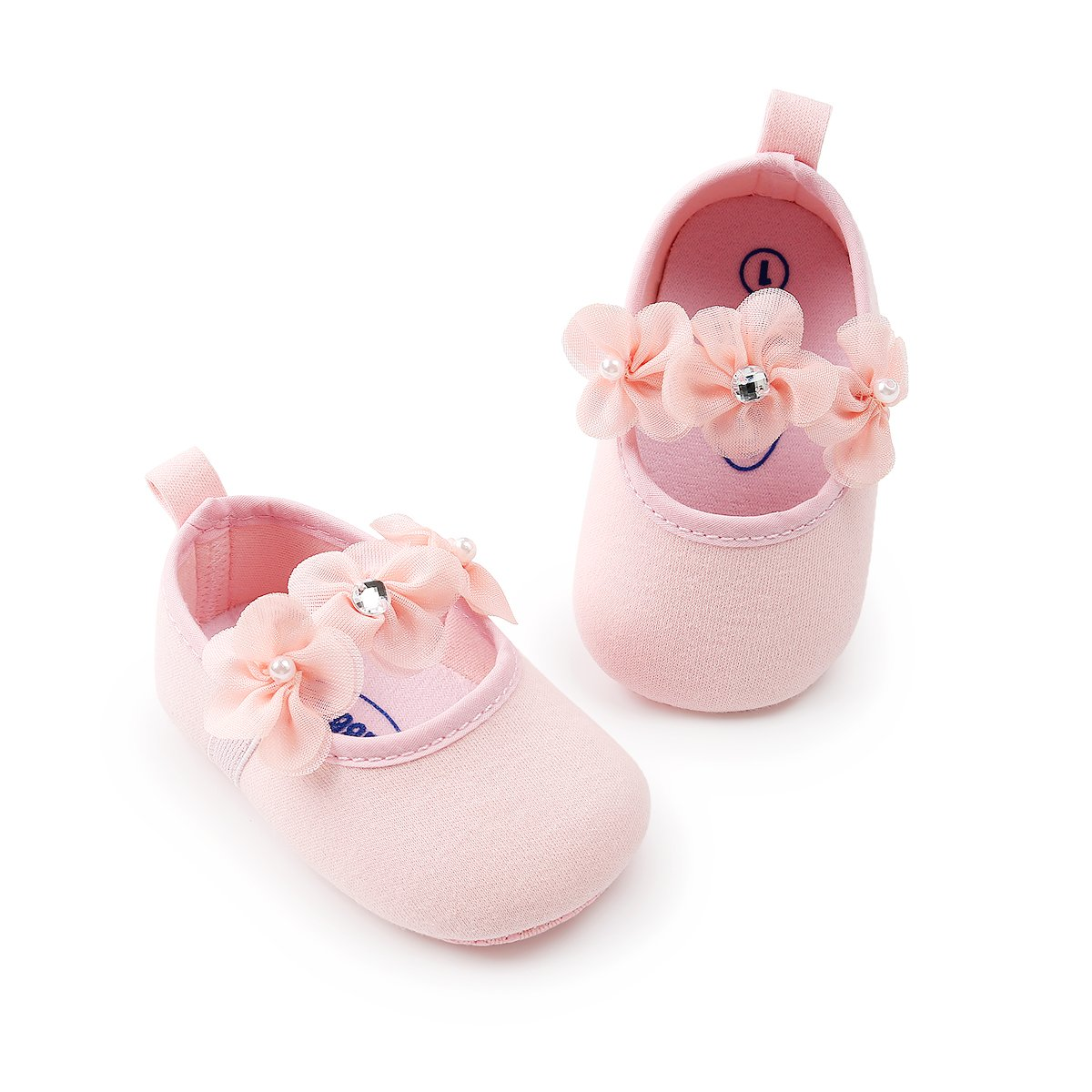 SOFMUO Baby Girls Floral Mary Jane Flats Soft Sole Infant Crib Walking Shoes with Headband
