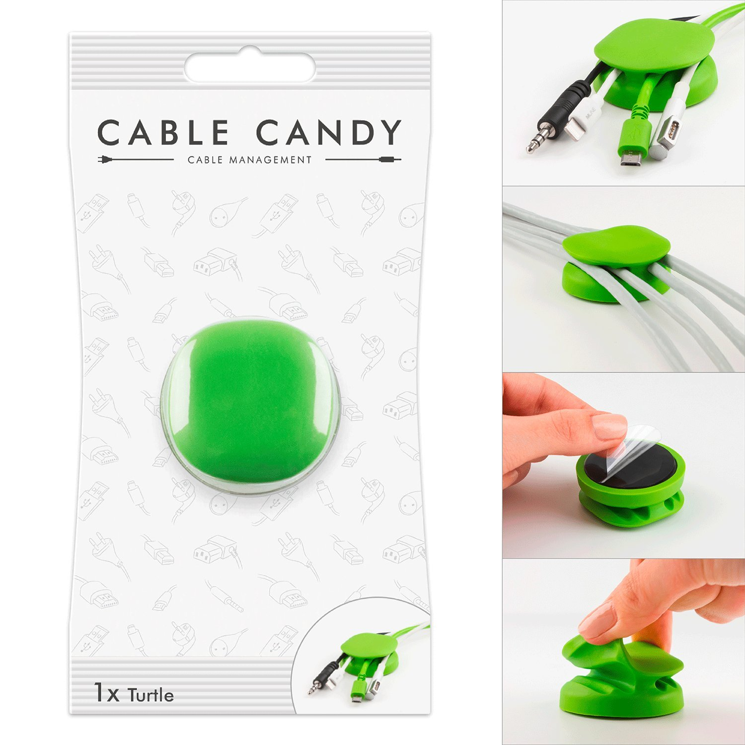 Cord Management & Cable Organizer - Cable Candy - Turtle Green MLINE MLC7642