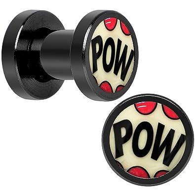 Cuerpo Caramelo Negro Anodizado Acero Comic Pow brilla en la oscuridad Dilatador Ajuste Rosca Par 4 Calibrador: Amazon.es: Joyería