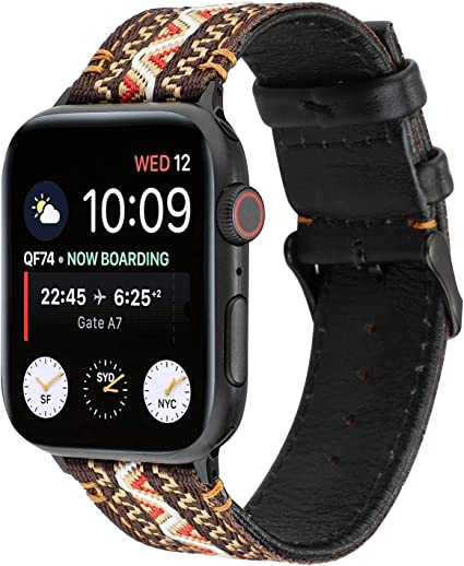 YOSWAN Flower Design Strap for iWatch,38mm 42mm Floral Pattern Printed Leather Wrist Band Link Bracelet Compatiable for Apple Watch Smartwatch Series ...