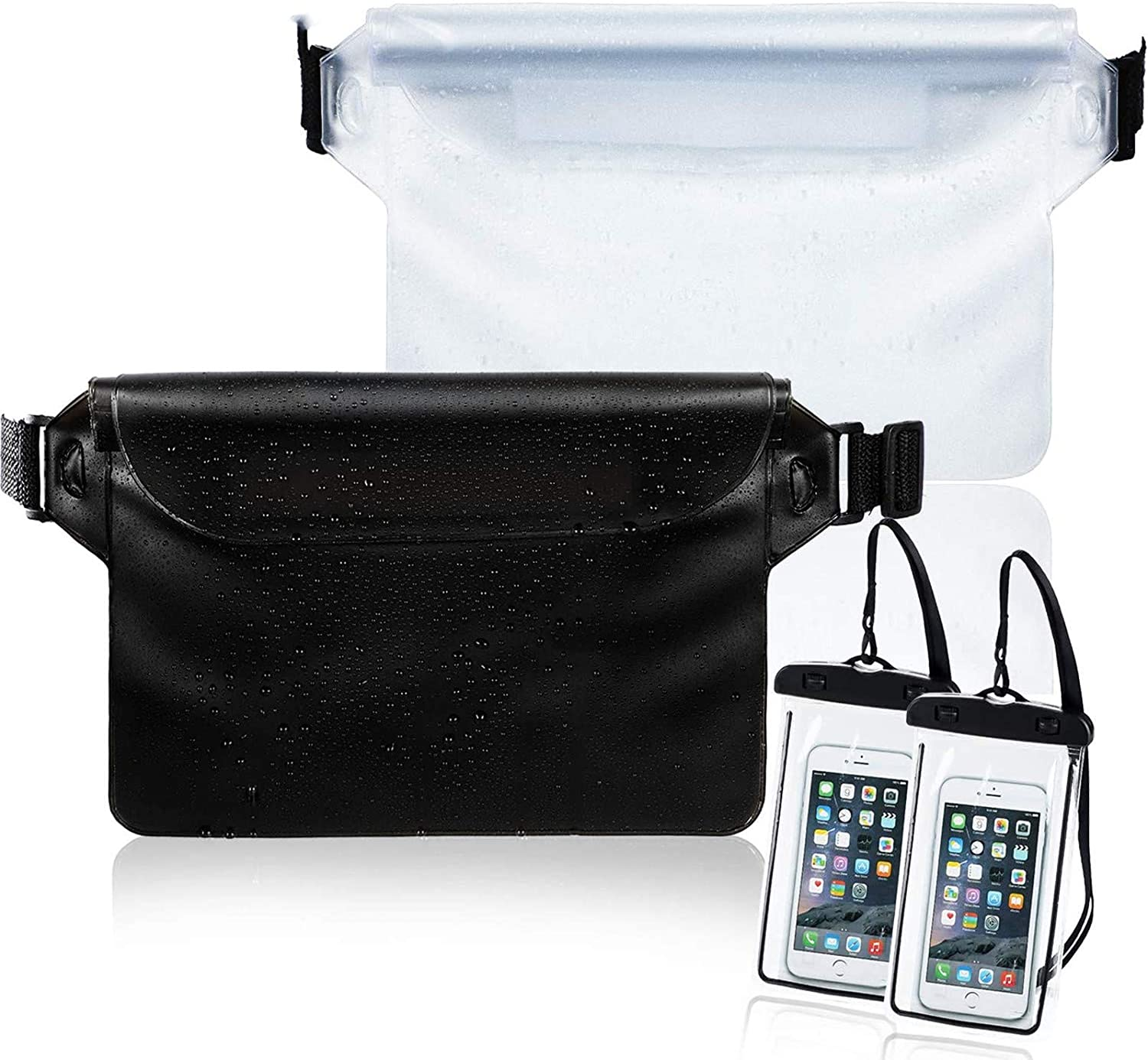 Weewooday 2 Pieces Waterproof Waist Pouch and 2 Piece Black Waterproof Phone Case Dry Bag for Boating Swimming Kayaking Beach Pool Water Parks, Keeping Phone Wallet Safe and Dry (Color Set 4)