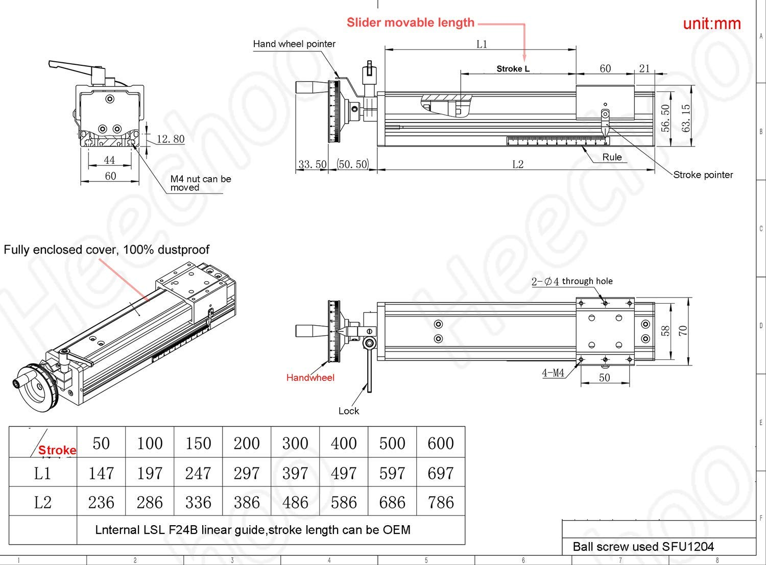 Linear Rail Guide Slide Table 100mm Ball Screw SFU1204 Enclosed Structure Manual Slide Stage with Ruler for DIY CNC Router Controller