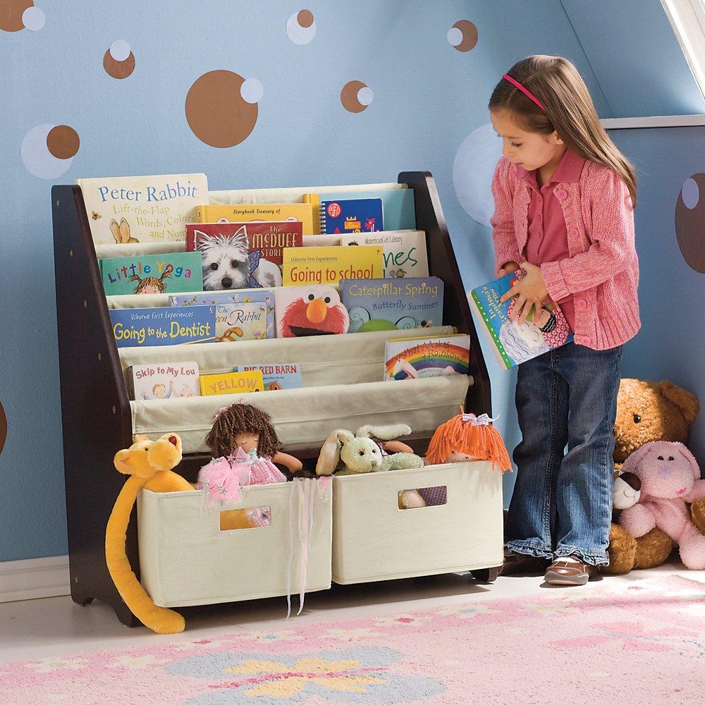 Kidsu0027 Sling Bookshelf With Storage Bins ESPRESSO