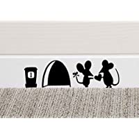 MOUSE LOVE HEART Wall Art Sticker Vinyl Decal Mice Home Skirting Board Funny