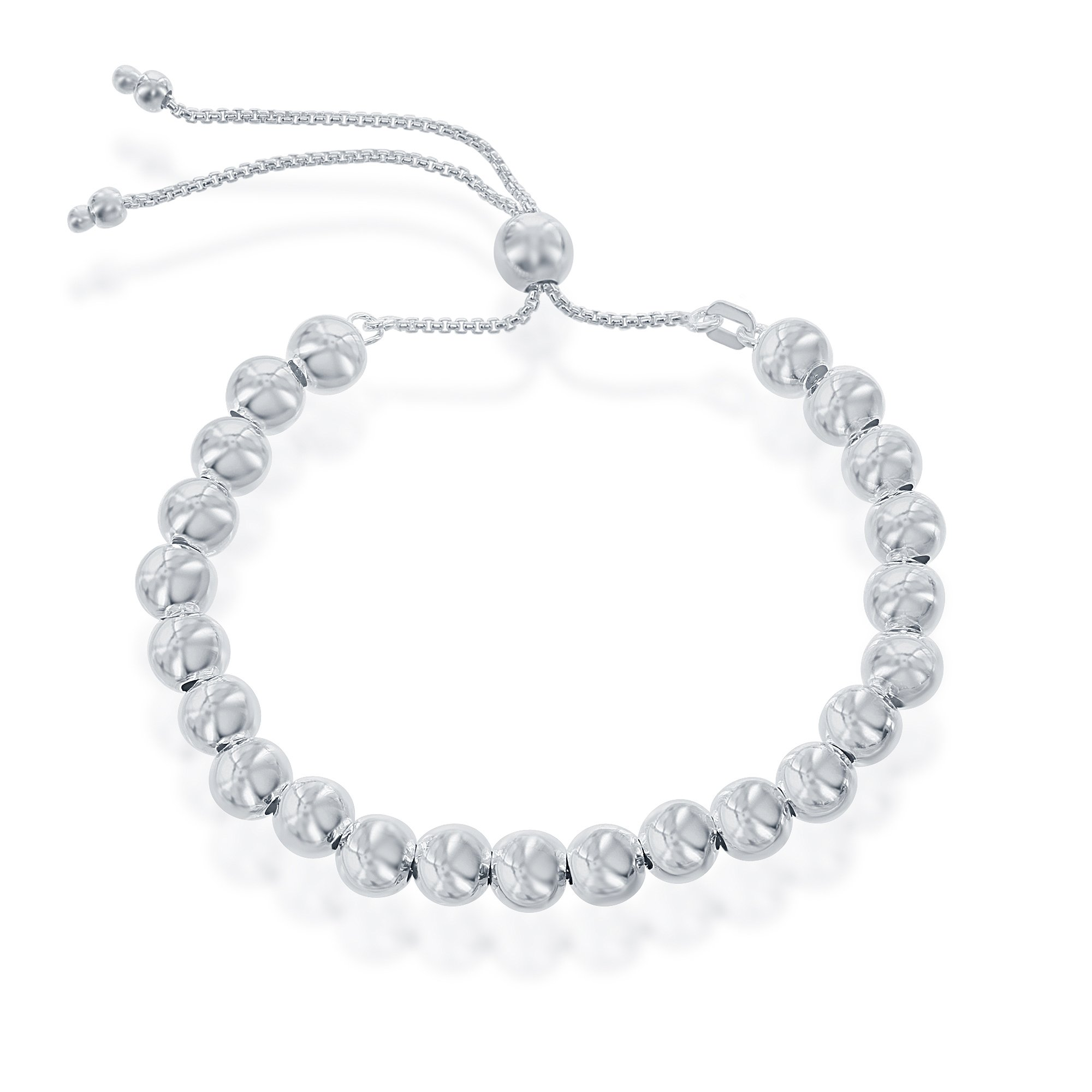 Sterling Silver Italian 6mm High Polish Round Beads Adjustable up to 9.5'' Bolo Bracelet
