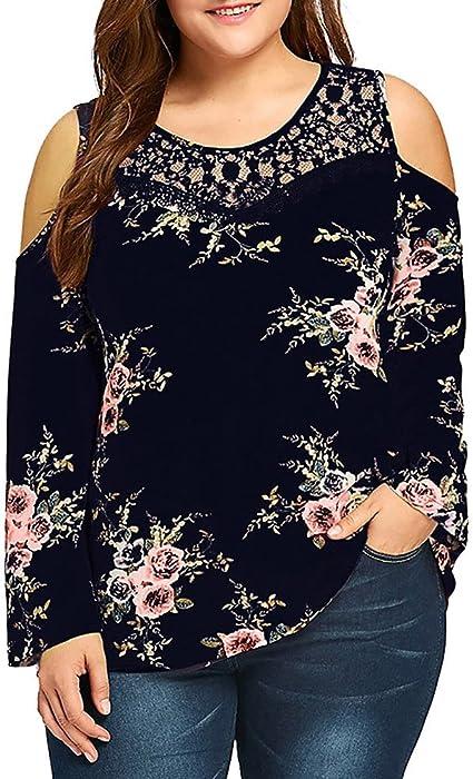 25265cc9fc3b9 JESFFER Womens Plus Size Lace Cold Shoulder Floral Printed Blouse T-Shirt  Tops
