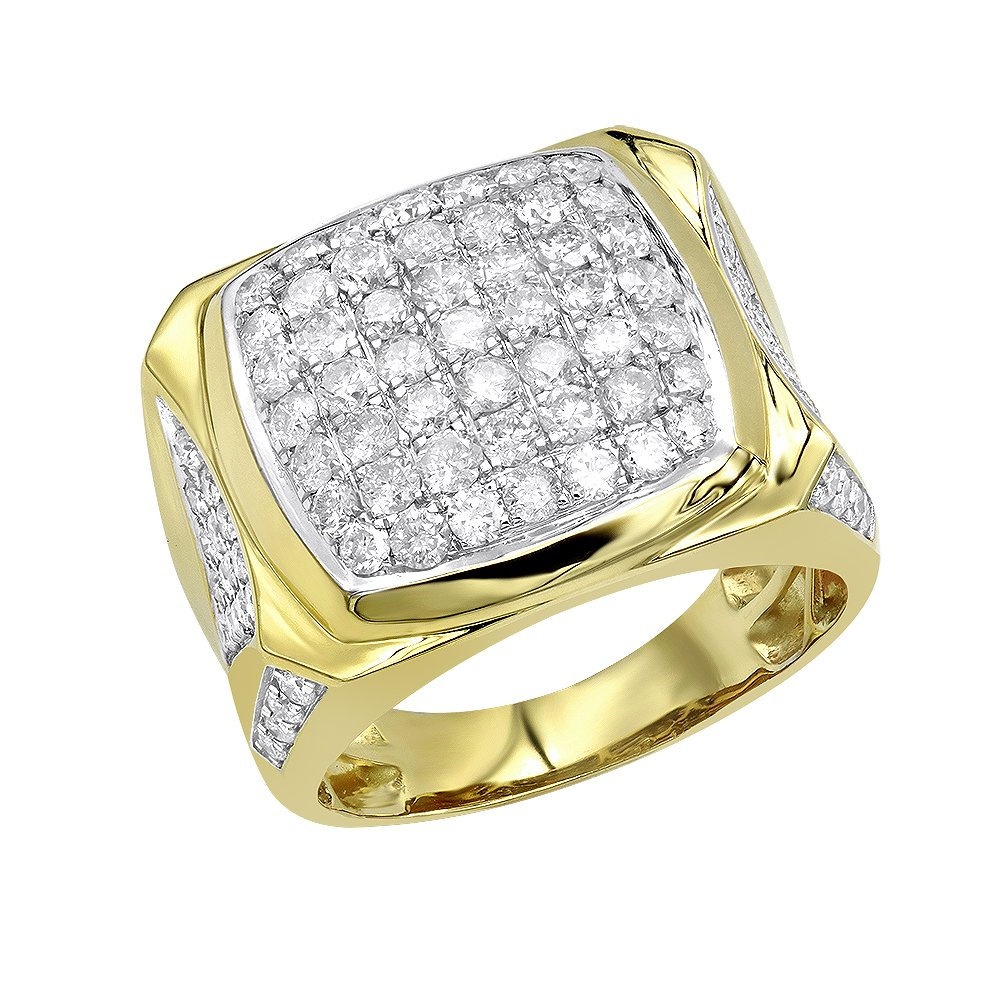 Statement Jewelry: 10k Gold Mens Diamond Ring 3 Carat Pinky Band 3ctw (Yellow Gold, Size 9.5)