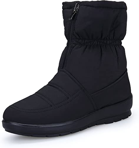 Super frist Girls Outdoor Warm Snow Boots Buckle Flat Leather Boots Non-Slip Winter Ankle Boots