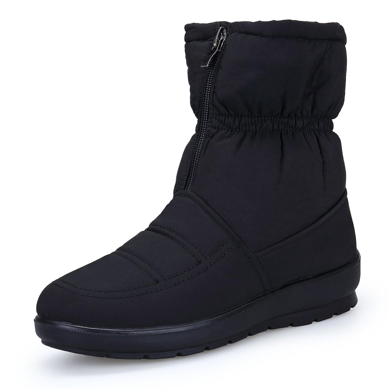 KOUDYEN Femme Fermeture Bottes de Neige Boots Hiver Femme Chaussures Chaussures Plates Bottines Fermeture Éclair Noir c468946 - epictionpvp.space