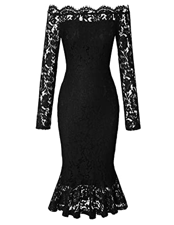 Chiciris Women's Vintage Off Shoulder Floral Lace Slim Cocktail Pencil Dress by Chiciris