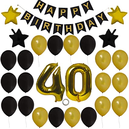 Houseables 40th Birthday Decorations Kit Happy Bday Banner Black Gold 40