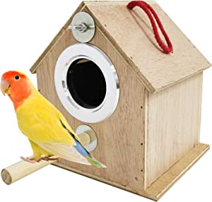 kathson Parakeet Nest Box Bird Nesting House Parrot Wood Breeding Mating Box Parrots Aviary Cage Box for Lovebirds Cockatiel Budgie Finch Conure Parrotlets