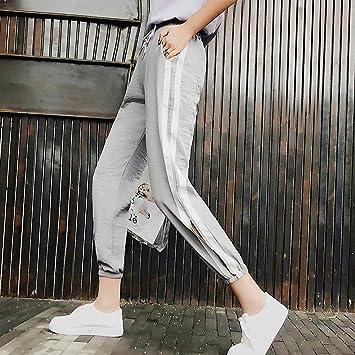 COOOOEENS Pantalones de Mujer de Color Gris Pantalones de ...