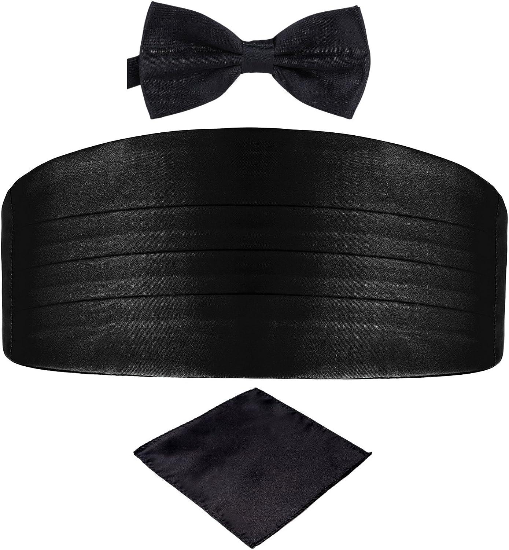 DonDon Set de tres piezas Caballero Faja de esmoquin Pajarita Pañuelo de bolsillo Color a juego Espléndido para ceremonias y ocasiones especiales