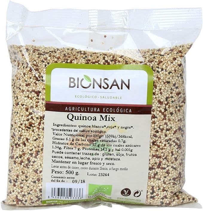 Bionsan Quinoa Ecológica Tricolor Blanca, Negra y Roja | 6 Bolsas de 500 gr | Total: 3000 gr