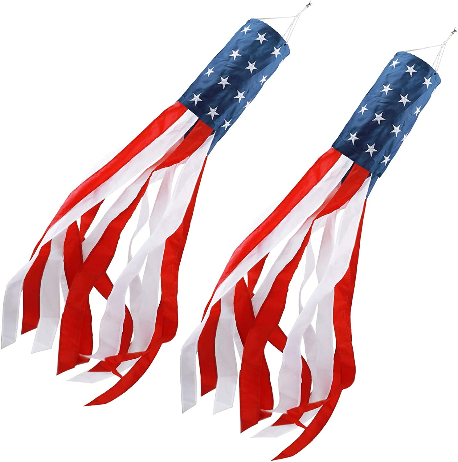 HOOSUN 40 Inch American Flag Windsock Outdoor Embroidered Stars Stripes USA Flags Patriotic Decorations Fade Resistant USA Decorations(2 Pack)-Windsock Outdoor Hanging