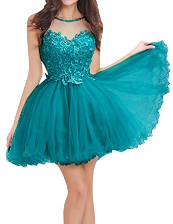 JAEDEN Homecoming Dresses Short Lace Cocktail Party Dress Tulle Prom Dress Open Back Sweetheart