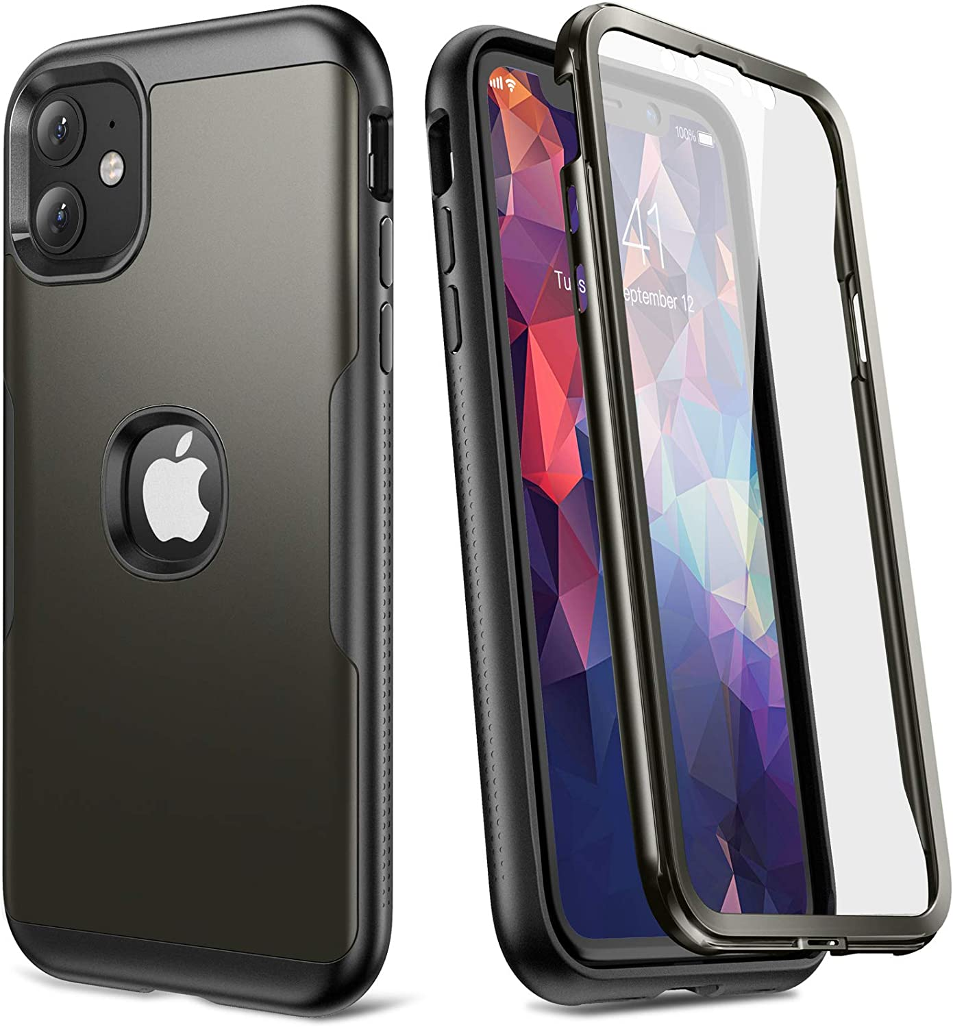 YOUMAKER Metallic Designed for iPhone 11 Case, Full Body Rugged with Built-in Screen Protector Heavy Duty Protection Slim Fit Shockproof Cover for iPhone 11 Case 6.1 Inch-Gun
