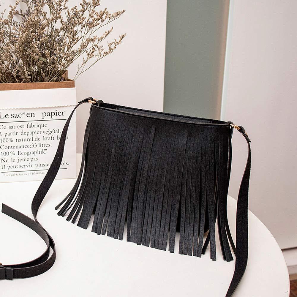 MaxFox Women Retro Shoulder Bag Tassel Leather Square Messenger Satchel Crossbody Tote Handbag for Cell Phone &Coin (Black) by MaxFox (Image #2)