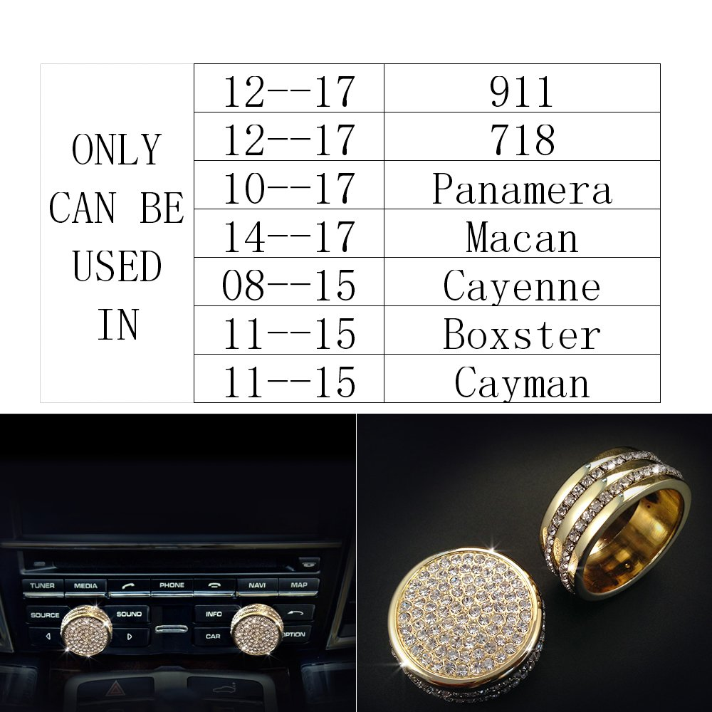 1797 Porsche Accessories Inner Door Lock Pins Cover Cayenne Macan Panamera Interior Decorations Parts Modification Metal Crystal Rhinestone Silver Man Women Cool Popular 4pcs